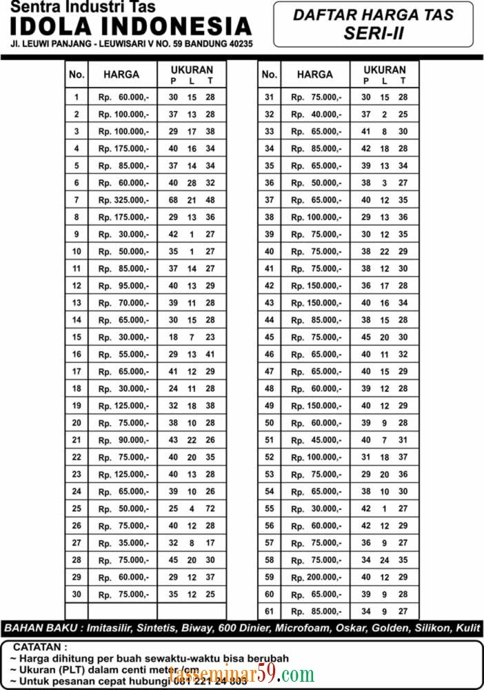 Daftar Harga Tas seri 2