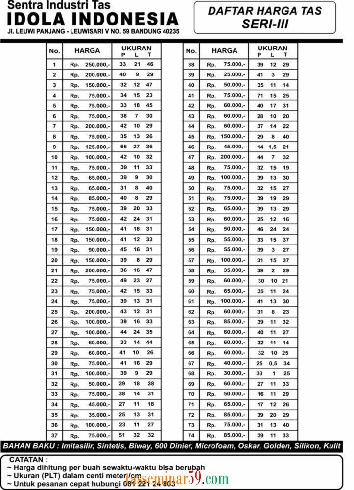 Daftar Harga Tas seri 3